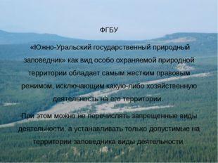 ФГБУ «Южно-Уральский государственный природный заповедник» как вид особо охра