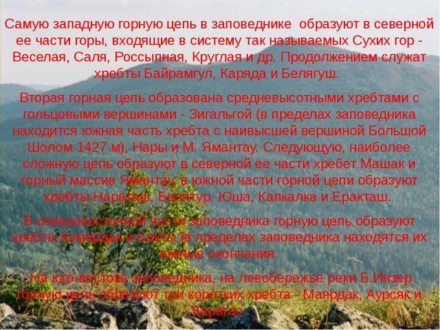 Самую западную горную цепь в заповеднике образуют в северной ее части горы,...