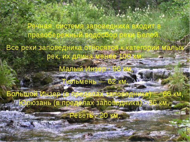 Речная система заповедника входит в правобережный водосбор реки Белой. Все...