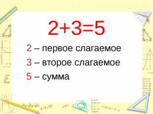 2+3=5 2 – первое слагаемое 3 – второе слагаемое 5 – сумма