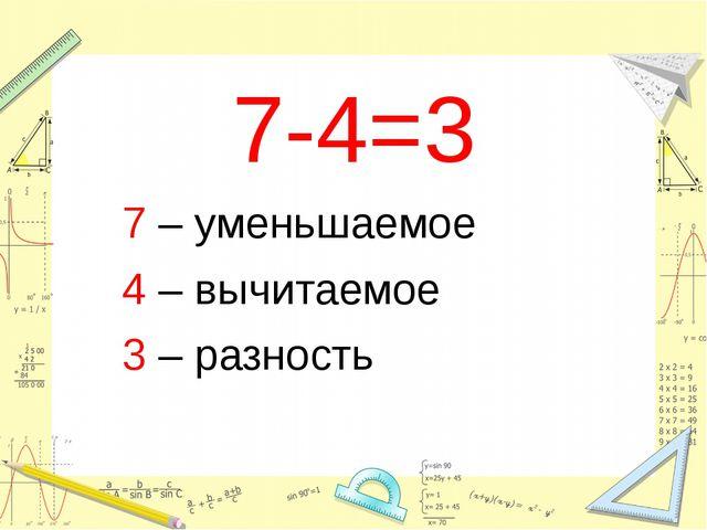 7-4=3 7 – уменьшаемое 4 – вычитаемое 3 – разность