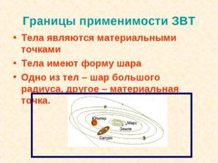 Границы применимости ЗВТ Тела являются материальными точками Тела имеют форму