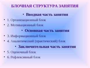 БЛОЧНАЯ СТРУКТУРА ЗАНЯТИЯ Вводная часть занятия 1. Организационный блок 2. Мо