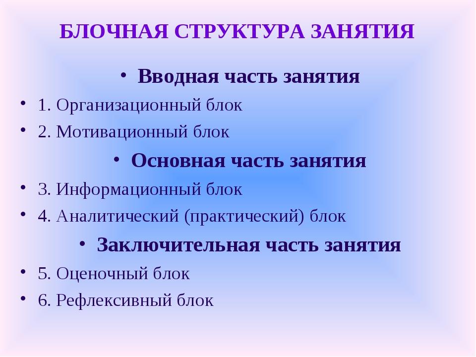 БЛОЧНАЯ СТРУКТУРА ЗАНЯТИЯ Вводная часть занятия 1. Организационный блок 2. Мо...