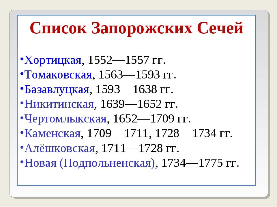Список Запорожских Сечей Хортицкая, 1552—1557гг. Томаковская, 1563—1593гг....