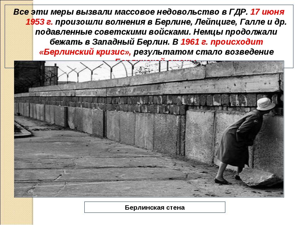 Все эти меры вызвали массовое недовольство в ГДР. 17 июня 1953 г. произошли в...