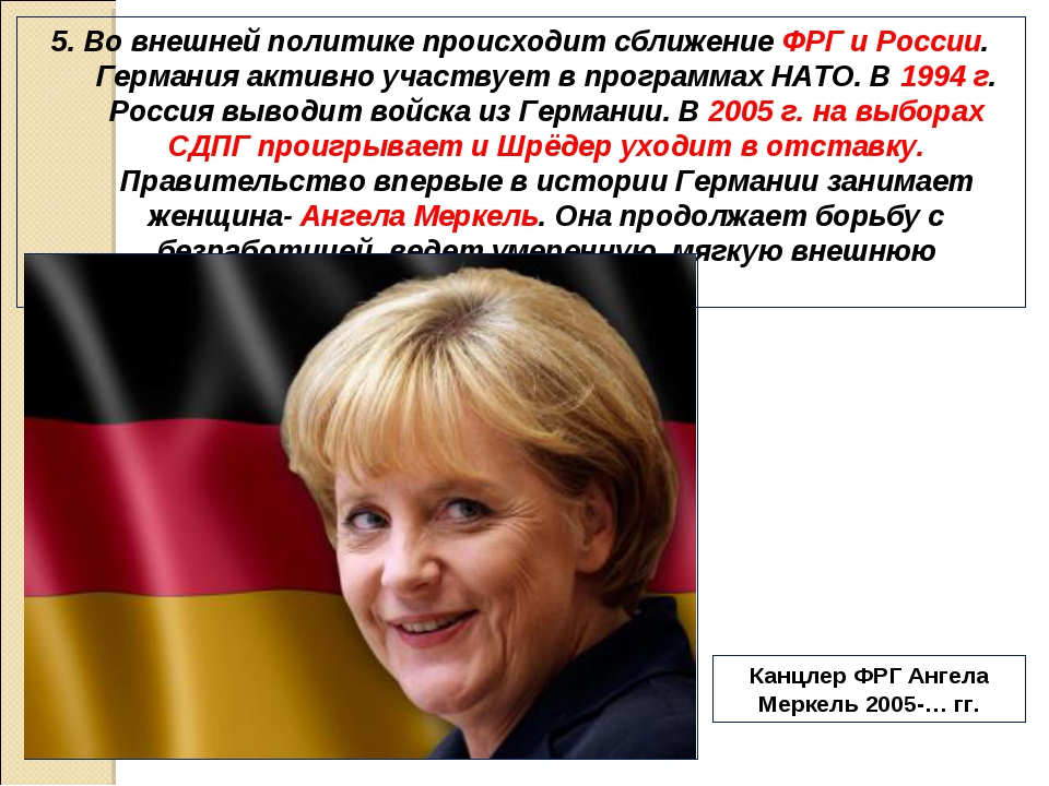5. Во внешней политике происходит сближение ФРГ и России. Германия активно уч...