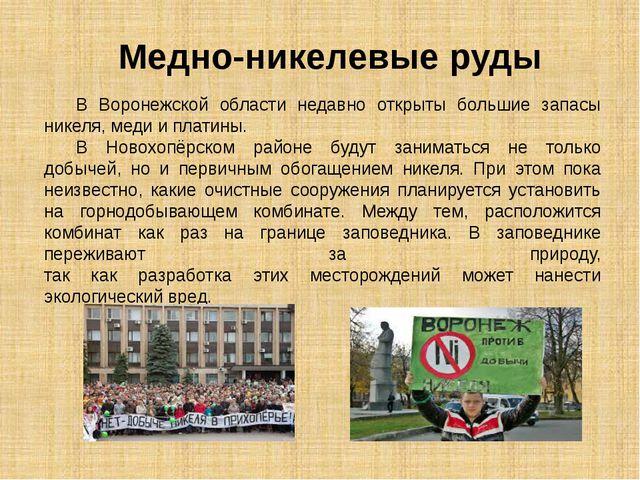 В Воронежской области недавно открыты большие запасы никеля, меди и платины....
