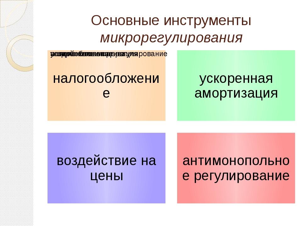 Основные инструменты микрорегулирования