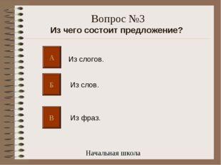 Вопрос №3 Из чего состоит предложение? А Б В Из слогов. Из слов. Из фраз. Нач