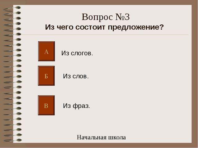 Вопрос №3 Из чего состоит предложение? А Б В Из слогов. Из слов. Из фраз. Нач...