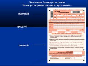 Заполнение бланка регистрации Бланк регистрации состоит из трех частей – верх