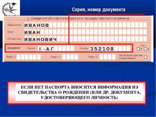 Серия, номер документа И В А Н О В И В А Н И В А Н О В И Ч I - А Г 3 5 2 1 0