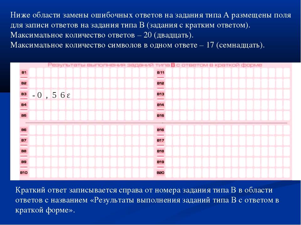 Ниже области замены ошибочных ответов на задания типа А размещены поля для за...