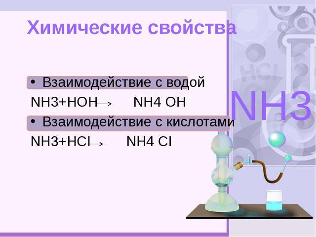 Химические свойства Взаимодействие с водой NН3+НОН NН4 ОН Взаимодействие с к...