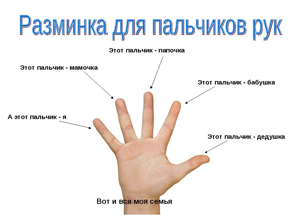 Этот пальчик - дедушка Этот пальчик - бабушка А этот пальчик - я Этот пальчик...