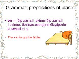 Grammar: prepositions of place on — бір заттың екінші бір заттың үстінде, бет
