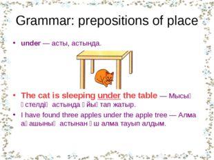 Grammar: prepositions of place under —асты, астында. The cat is sleeping und