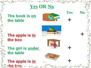 Yes OR No The book is on the tableYesNo + The apple is in the box + Th