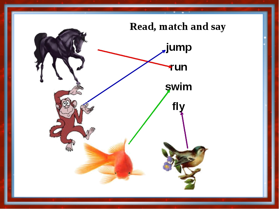 Read, match and say jump run swim fly