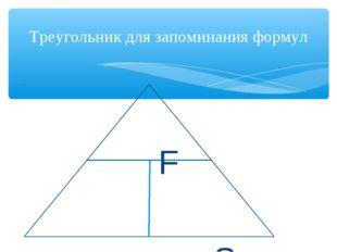 F p S Треугольник для запоминания формул