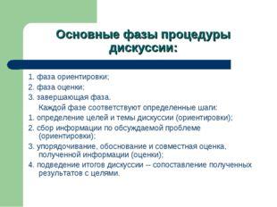 Основные фазы процедуры дискуссии: 1. фаза ориентировки; 2. фаза оценки; 3. з