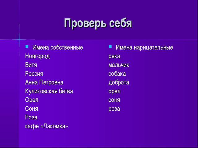 Проверь себя Имена собственные Новгород Витя Россия Анна Петровна Куликовска...