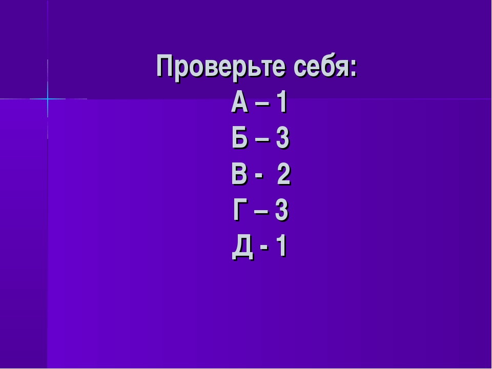 Проверьте себя: А – 1 Б – 3 В - 2 Г – 3 Д - 1