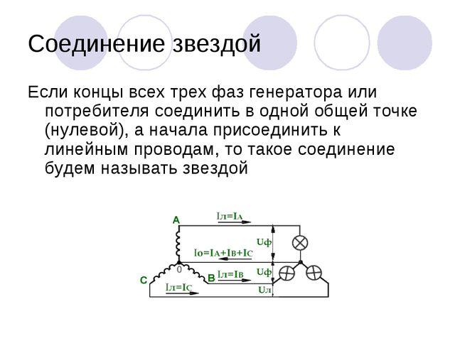 Соединение звездой Если концы всех трех фаз генератора или потребителя соедин...