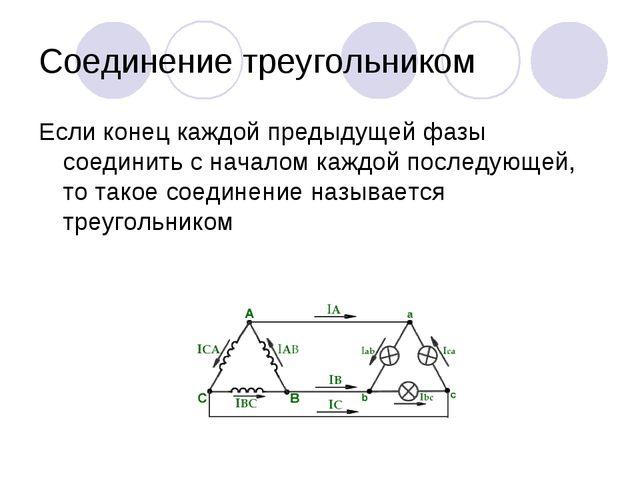 Соединение треугольником Если конец каждой предыдущей фазы соединить с начало...