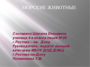 Составила:Шалина Елизавета ученица 4-а класса лицея №20 г.Ростова – на- Дону