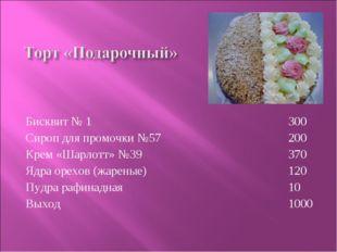 Бисквит № 1 Сироп для промочки №57 Крем «Шарлотт» №39 Ядра орехов (жареные) П