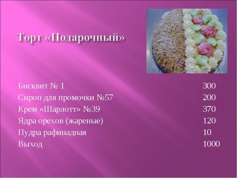 Бисквит № 1 Сироп для промочки №57 Крем «Шарлотт» №39 Ядра орехов (жареные) П...
