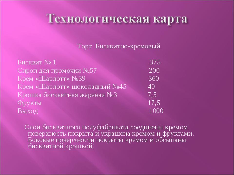 Торт Бисквитно-кремовый Бисквит № 1 375 Сироп для промочки №57 200 Крем «Шарл...