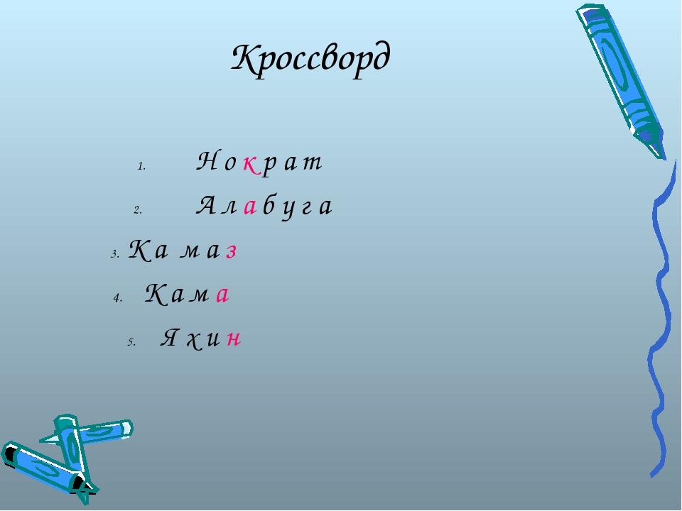 Кроссворд  1.Н о к р а т  2.А л а б у г а  3. К а м а з 4. К а м а 5...