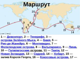 Маршрут 1—Девонпорт, 2— Тенерифе, 3— острова Зелёного Мыса, 4—Баия, 5—