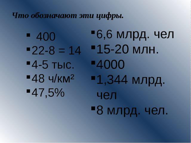 Что обозначают эти цифры. 400 22-8 = 14 4-5 тыс. 48 ч/км² 47,5% 6,6 млрд. чел...
