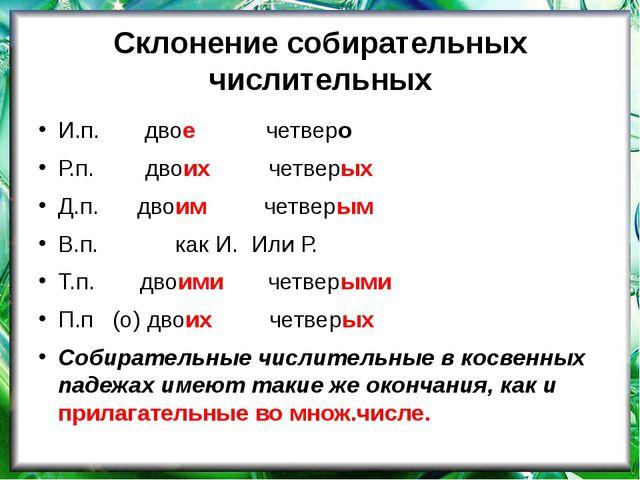 Склонение собирательных числительных И.п. двое четверо Р.п. двоих четверых Д....