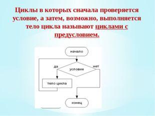 Циклы в которых сначала проверяется условие, а затем, возможно, выполняется т