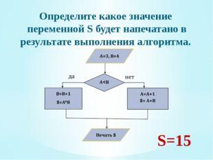 Определите какое значение переменной S будет напечатано в результате выполнен