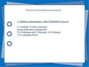 Список использованных ресурсов 1. Шаблон презентации http://linda6035.ucoz.ru