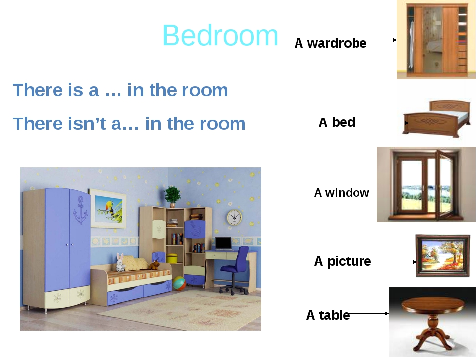 Bedroom There is a … in the room There isn't a… in the room A wardrobe A tabl...
