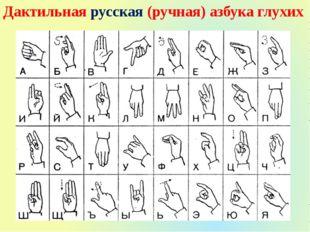 Дактильная русская (ручная) азбука глухих