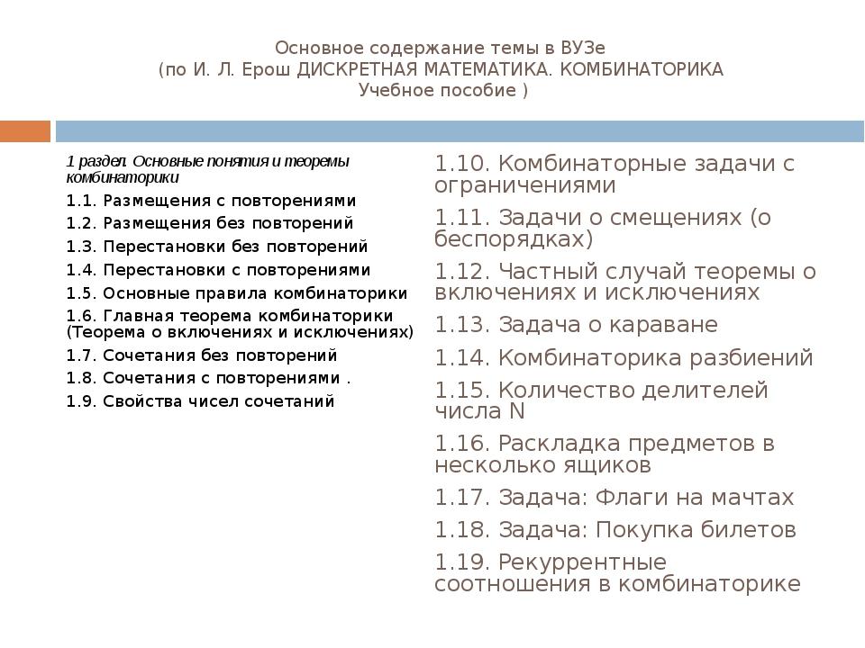Основное содержание темы в ВУЗе (по И. Л. Ерош ДИСКРЕТНАЯ МАТЕМАТИКА. КОМБИНА...