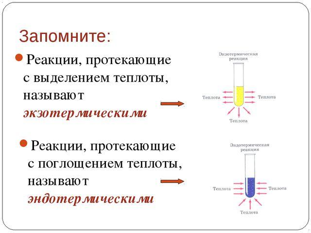 Запомните: Реакции, протекающие с выделением теплоты, называют экзотермически...