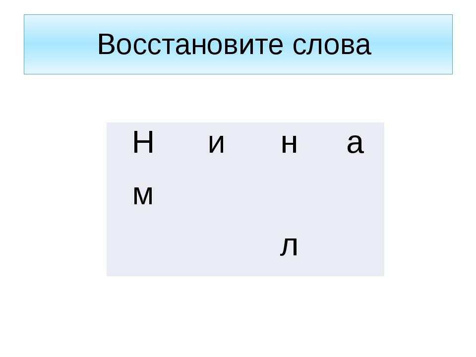 Восстановите слова Н и н а м      л