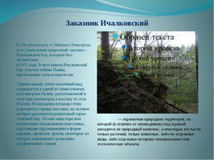 Заказник Ичалковский В 140 километрах от Нижнего Новгорода есть уникальный пр