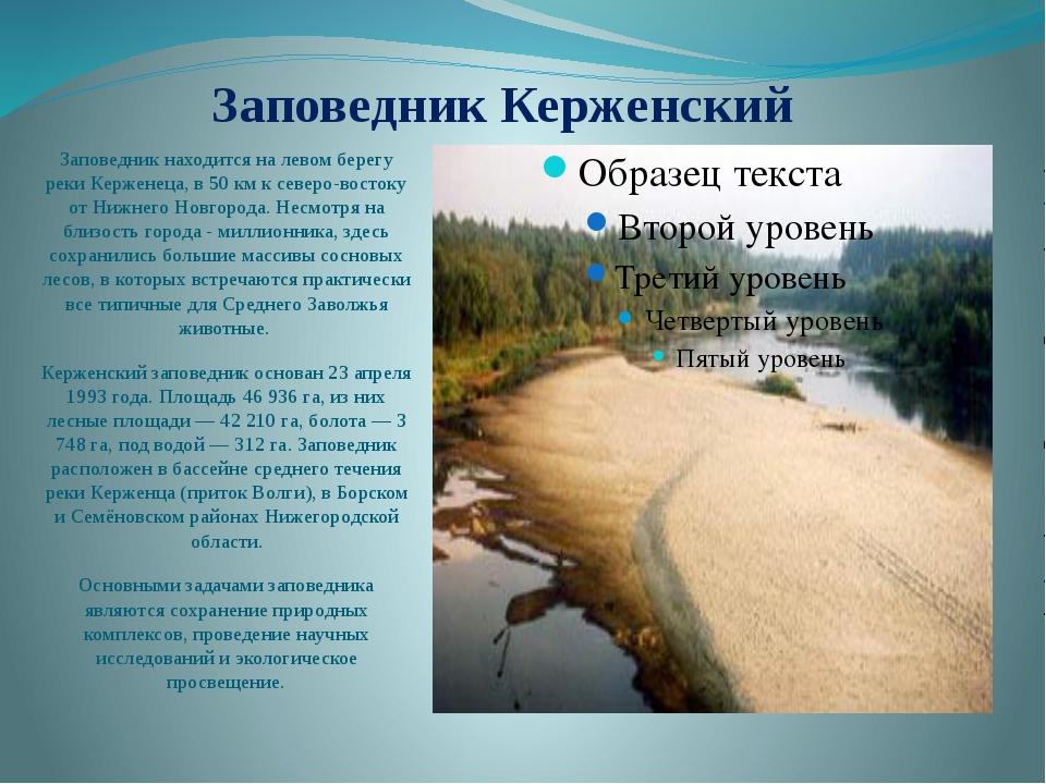 Заповедник Керженский Заповедник находится на левом берегу реки Керженеца, в...