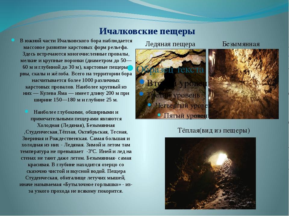 Ичалковские пещеры В южной части Ичалковского бора наблюдается массовое разви...