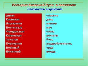 История Киевской Руси в понятиях Составить выражение Дикая Киевская Языческая